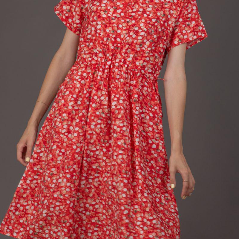 שמלה עיגולים אדום לבן