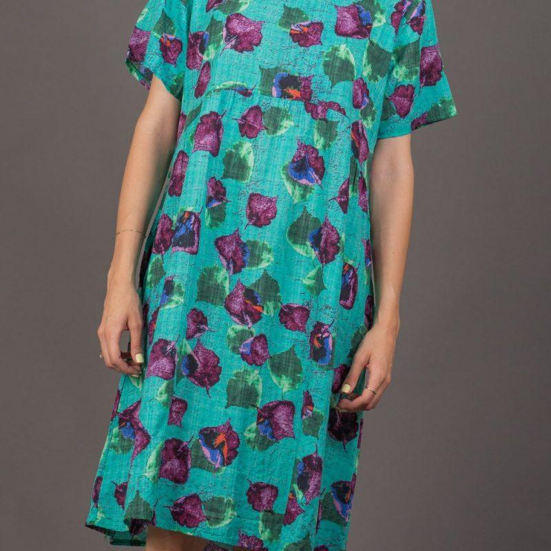 שמלה טורקיז עלים סגול