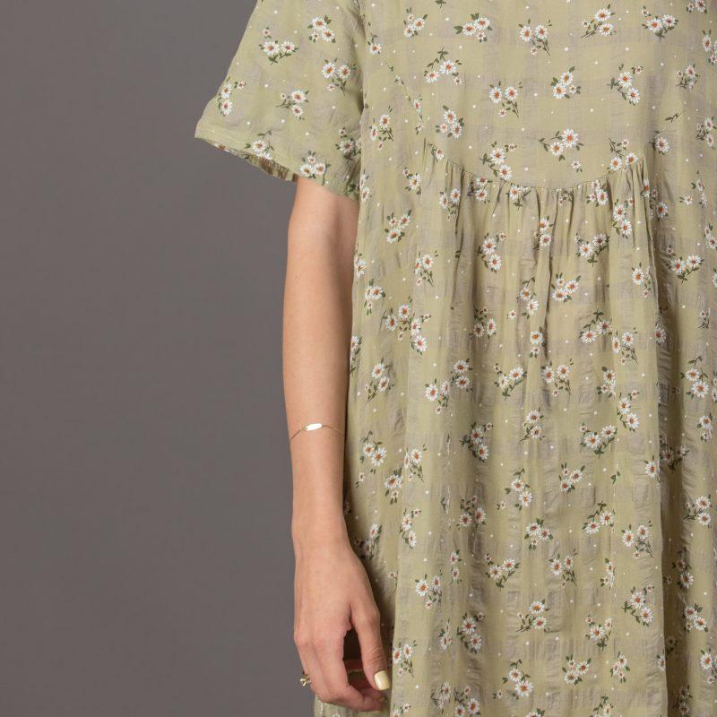 שמלה משבצות פרחים