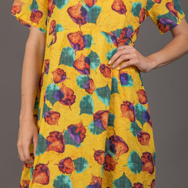 שמלה צהובה עלים