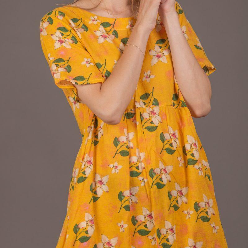 שמלה פרחים צהובה